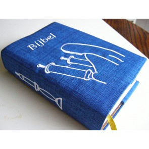 Hoes Handbijbel 12x18 bordeaux met boekrol en kaars wit