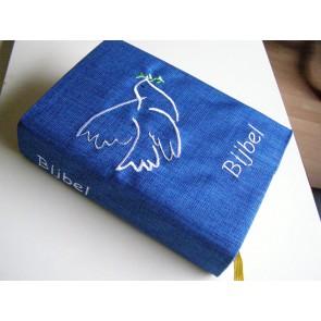 Hoes Huisbijbel 16x24 blauwe streep Shofar blazer goud Laatste exemplaar