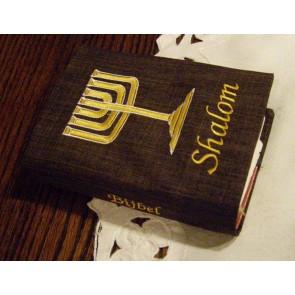 Hoes Huisbijbel 16x24 bruin met boekrol en kaars wit