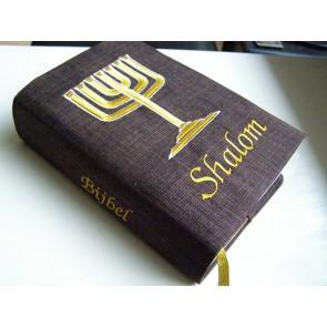 Hoes Huisbijbel 16x24 denim met boekrol en kaars wit
